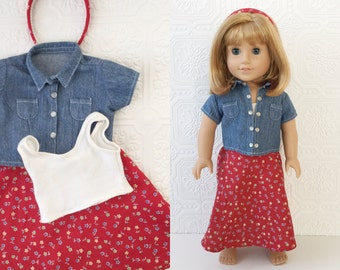 "Doll Fashion Denim Shirt with Long Floral Skirt & Headband, Pleasant Company Play Outfit, Fits American Girl or other 18"" Dolls, Vintage 90s"