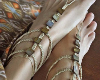 Gladiator Barefoot Sandals, Mother of Pearl, Shell Barefoot Sandals, Boho Sandals in Beige/Brown, 1 Pair