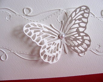 Creamy Ivory Butterfly on Swirly Border Ivory Watercolour Paper Card / Wedding / Mother of the Bride / Anniversary / A2 size