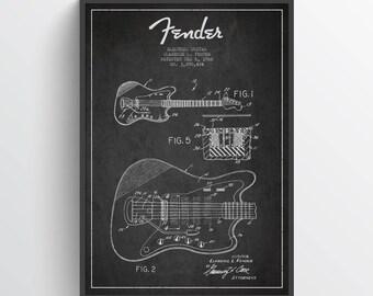 1966 Fender Electric Guitar Patent Poster, Patent Art Print, Patent Print, Fender Guitar Print, Wall Art, Home Decor, Gift Idea, MUIN24P