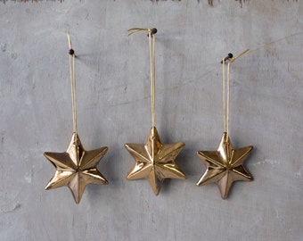 Christmas Star Decorations, Set of 3, Christmas Star Ornaments, ceramic Christmas tree star, Christmas ornament, Ceramic Tree Ornaments
