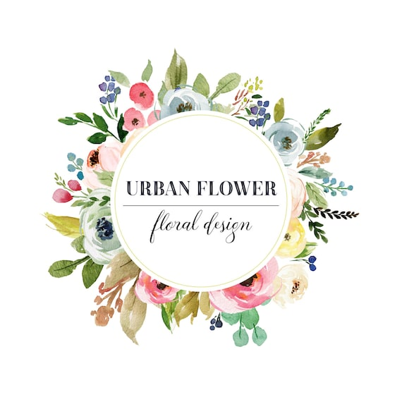 Black Flower Watercolor Art By Tae Lee: Floral Logo Premade Logo Design Floral Frame Logo Circle