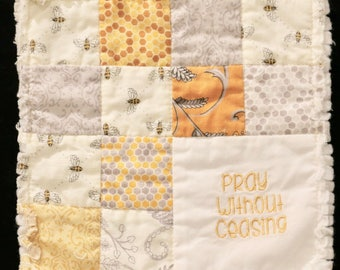 Shabby Chic Prayer Quilt-Buzzing Bees in Honey Gold Tones