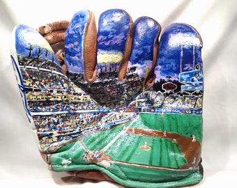 Hand-Painted Dodger Stadium Mural on 1940's Era Baseball Glove