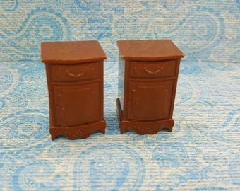 Reliable Plastics End Tables Miniature  Doll House Toy Bedroom Canadian Made Brown