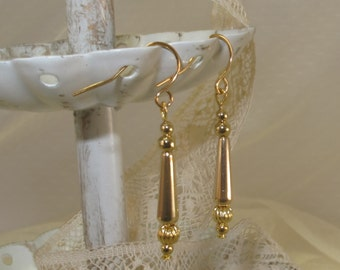Diminutive Gold-Filled 'Torpedo' Drop Earrings, Gold-Filled Earwires, Victorian, Civil War Appropriate - Affordable Elegance