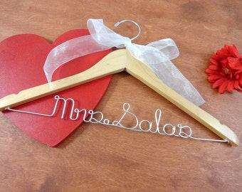 Bridal Hanger With Name - Bride Hangers - Bridal Accessories - Wedding Dress Hangers - Personalized Wire Hangers - Wedding Hanger Name