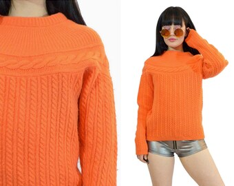 vintage 80s wool sweater NEON orange 1980s cableknit jumper sweatshirt pastel soft grunge chunky knit small