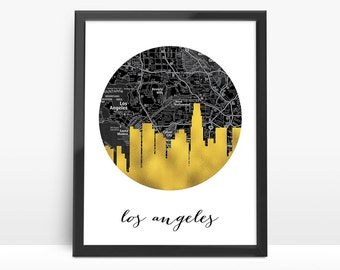 Los Angeles City Skyline, Faux Gold Foil Art,Black and White Map,Los Angeles map,Modern Home Decor,NO,611