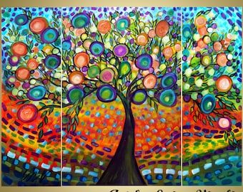 Original Abstract Painting Landscape Whimsical Gypsy Style Tree of Life HAPPY MOMENTS 48 by 36