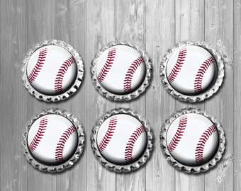 Baseball Bottle Cap Magnets - Set of 6