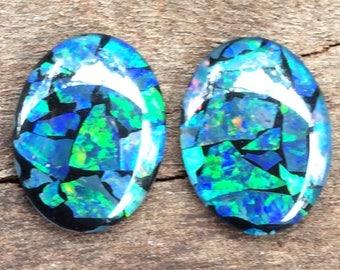 Australian Opal Mosaic-Art Stone Gemstones 20x15mm Oval Shape 2 Pieces