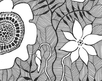 Original ink drawing of flowers. Black and white floral illustration. Patterned zentangle inspired craphics. A5
