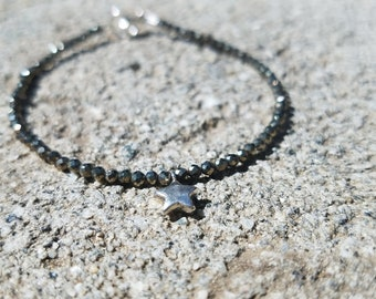 Pyrite and sterling silver star stacking bracelet
