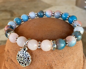 Ocean colors stretch bracelet set, yoga bracelet with rose quartz and jade beads