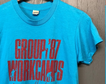 S thin vintage 80s 1987 Workcamp screen stars t shirt