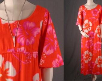 Floral dress Hawaii Hawaiin pink orange flower power maxi dress vintage 70s Bohemian Boho Gypsy women size S small