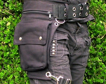 Utility belt with removable thigh strap and 5 cm metal buckle * plus sizes also, Festival belt, Holster bag, waist pockets, hip purse