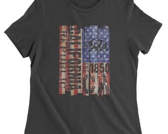 USA Flag California Bear Womens T-shirt