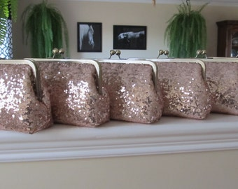 SALE 20% OFF Rose Gold Sequin Clutch Set Of 6,Wedding Accessories,Bridal Accessories,Wedding Clutch,Bridesmaid Clutch, Bridal Purse