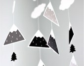 Woodland mobile, baby mobile, Mountain mobile, mobile bb, monochrome mobile, crib mobile, woodland nursery mobile, black and white mobile