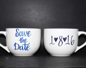 Save The Date Coffee Mug set // Engagement Photos // Handpainted Custom Save the Date mugs