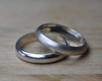 4mm Classic Half Round Sterling Silver Wedding Band Ring Set. Classic Women's Silver Wedding Band Ring Set. Classic Promise Rings