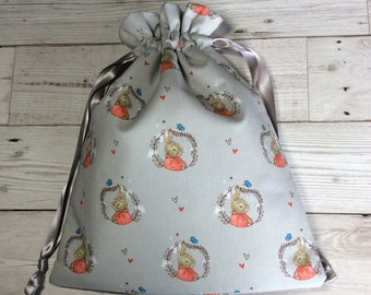 Drawstring project bag - Bertie Bunny