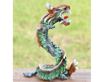 Green Carved Wooden Dragon Coiled Stance Sculptured Statuette