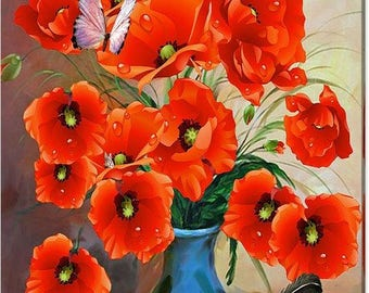 Still Life Poppies Canvas Art Print 24x32 Inches
