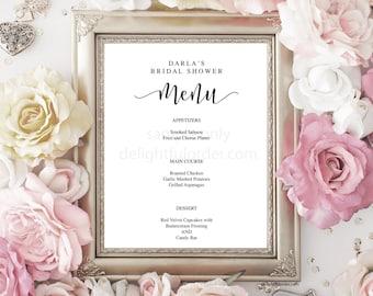 baby shower menu template free 7. elegant script wedding menu ...