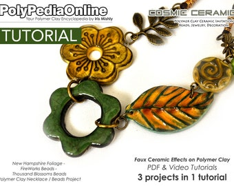 Polymer Clay Tutorial, Polymer Clay Jewelry, Polymer Clay, Polymer Clay Bead, Ceramic Bead, Clay Bead, Jewelry Tutorial, Fimo Necklace, PDF