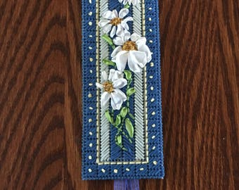 Silk daisy chain on blue bookmark, silk ribbon embroidery, gift for her, gift for reader,