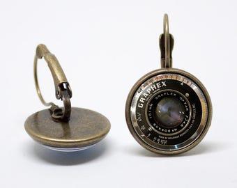 Camera lens jewelry Photographer gift Lens earrings Camera jewellery Camera lens earrings Camera jewelry Girlfriend gift Birthday gift Hobby
