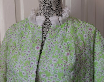1960s Leisure Lady Green Floral House Coat All Sizes