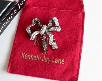 Vintage Kenneth Jay Lane KJL  Rhinestone  Bow Pin, Retro KJl bow  brooch, Kenneth Lane Jewelry  #1437