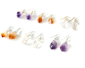 Crystal Point Earrings - Amethyst / Citrine / Clear Crystal points - Gold or Silver PLATED Bail - (RK78B5-04)