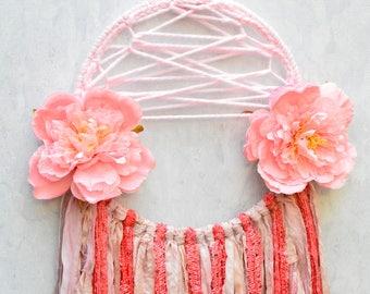 Pink Flower Dreamcatcher, Large Dreamcatcher, Large Dreamcatcher, Flower Dreamcatcher, Boho Home Decor, Bohemian Home Decor, Decor