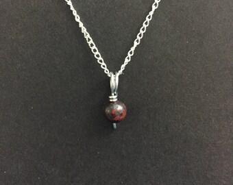 Tiny Bloodstone Charm Necklace