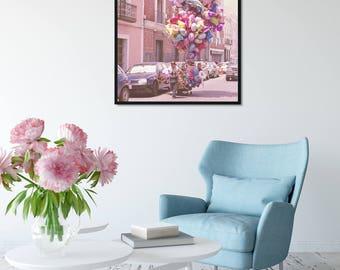 Pink Wall Art, Balloons Print, Paris Chic Travel Photography, Nursery Decal, Pink Nursery Decor, Dreamy Art, Carnival, Pastel Nursery Art