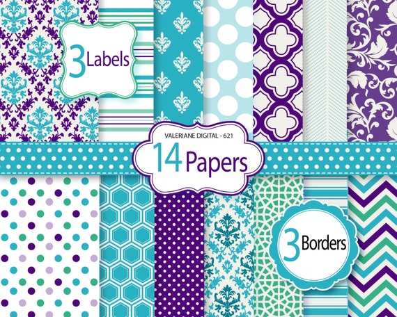 Purple And Turquoise Wallpaper: Items Similar To Purple Digital Paper, Scrapbook Paper