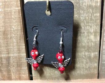 Sugar skull earrings with wings