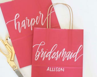 Custom gift bags + RED Wedding gift bags + Bridal shower gift bag + Bachelorette Party bags + Welcome Bags / Handwritten