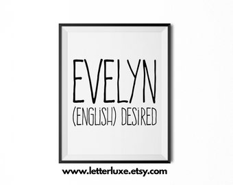 Evelyn Name Meaning Art - Printable Baby Shower Gift - Nursery Printable Art - Digital Print - Nursery Decor - Typography Wall Decor