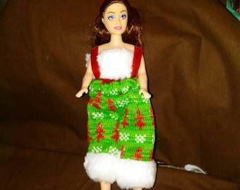 Knitted fabric Christmas put with hat and fur trim
