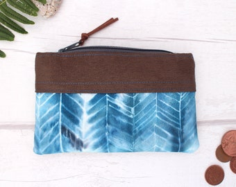 Zippered coin pouch/ business card holder/ credit card/change purse/ organiser/ coin wallet/ ladies purse/ gift for her/