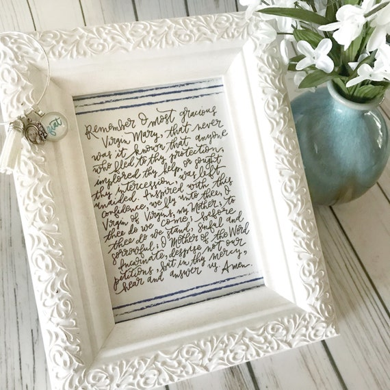 Catholic Print * Catholic Home Decor * Memorare * Ink Handlettered Print * Catholic Prayer * Mother Teresa * Housewarming Gift