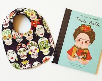 Frida Kahlo inspired Mexican art gothic black skulls baby bib
