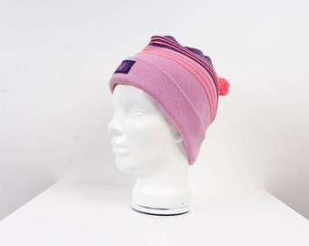 Vintage Winter Ski Hat Pink Blue Knitted Hat Winter Hipster Style Hat Sports Athletic 80' style Bright Red Hat One Size