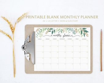 Blank monthly calendar, monthly planner printable, Printable monthly planner, Perpetual monthly calendar, undated calendar, blank calendar